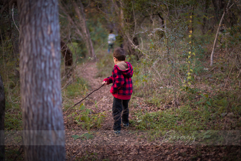 Houston preschool boy in buffalo plaid jacket with a stick in the woods during a family photo session