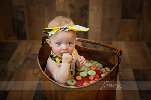 Girl Sitter Session in strawberry and cucumber fruit bath with lemon outfit and headband