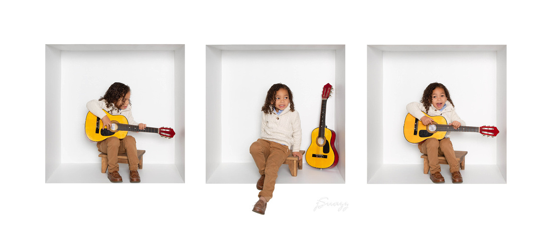 3-grid White Box Houston child portrait with guitar