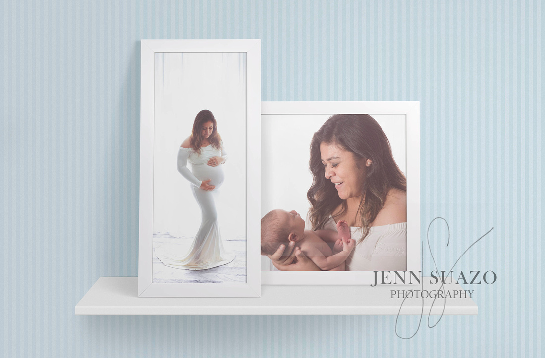 jSuazz Houston Maternity & Newborn Photography 20x10 & 16x20 Framed images on shelf